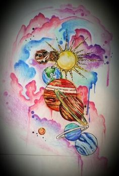 Watercolor planets tattoo design