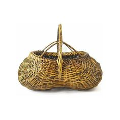 Extra Large Buttocks Basket, Vintage Woven Basket, Handmade Basket,... ($115) ❤ liked on Polyvore featuring home, home decor, vintage centerpieces, outdoor home decor, easter centerpieces, outside home decor and vintage home accessories