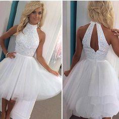 New Hot White Beads High Neck Short Prom