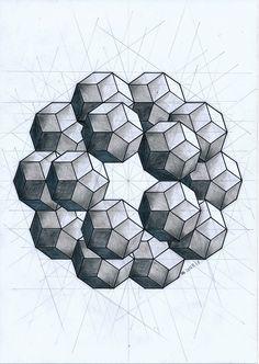 #polyhedra #solid #symmetry #geometry #handmade #pencil #mathart #regolo54 #escher #pentagon