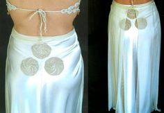 Godet Skirt in Silk Satin Gloss with Six Spirals of by EnzaMorrone