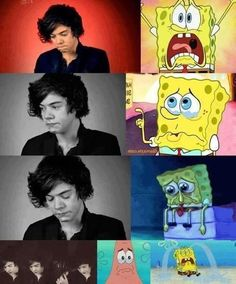 THIS IS ME WHEN I SEE HARRY CRYING. harry styles, hazza, harold, one direction, 1D spongebob and patrick, crying
