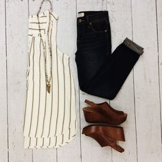 This fall's must-have look - Gentle Fawn top, Free People jeans, Chocolate Blu wedges. #ShopGeezLouise