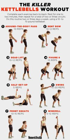 Woman's Health Mag - Kettle-bell full body workout...need to buy kettle bell again...these workouts really work