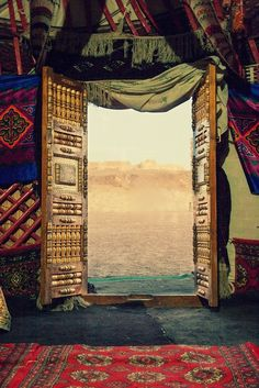 """nomads door  """"The breezes at dawn have secrets to tell you Don't go back to sleep! You must ask for what you really want. Don't go back to sleep! People are going back and forth  across the doorsill where the two worlds touch,The door is round and open Don't go back to sleep!"""" (Rumi)"""
