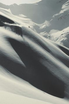 Big Mountain riding truly humbles you... The attraction for me is stepping up, facing your mortality and giving it a twist. This fantastic image conveys all that. Found via - fellow back country shredder & pinner William Bacon on his 'Sick Slopes' board.