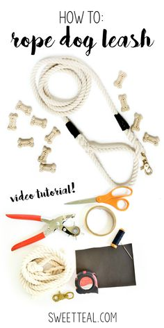 How to make a rope dog leash with leather accents. FULL VIDEO TUTORIAL on SweetTeal.com. #diy #dogleash #rope #leather