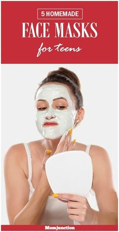 Homemade Face Masks For Teens: Here are 5 simple face mask recipes for teenagers that are ready in minutes, and promise to naturally nourish and revitalize your teen's skin. #SkinCare