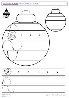 22 fiches de graphisme sur le thème de Noël, pour les élèves de maternelle (moyenne section et grande section). Plusieurs notions travaillées, telles que les lignes verticales, les lignes horizontales, les ponts, les pics, les ronds, les spirales et l'écriture de mots en capitale.