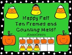 Happy Fall Ten Frames and Counting Mats has everything you need to help your students have fun learning numbers 1-10! You can use buttons, pom poms, erasers, candy corn or the counters in the packet.   Included are the following: 1-10 Happy Pumpkin Ten Frames in color/bw1-10 Happy Candy Corn Ten Frames in color/bw1-10 Candy Dish Counting Mats color/bw1-10 Happy Pumpkin Ten Frame Puzzles 1-10 Happy Candy Corn Ten Frame PuzzlesPumpkin and Candy Corn CountersNumber Cards in color/bw10…