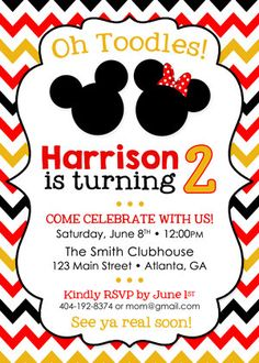 The perfect invitation for a Disney Mickey and Minnie themed birthday or Mickey Mouse Clubhouse party