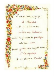 "The ""Magnificat"" as written out by Sofia Cavalletti, co-founder of CGS."
