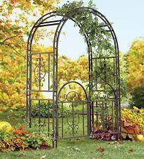 Large Garden Arbor Iron Patio Archway w/ Optional Gate Wedding Arch Trellis 7ft