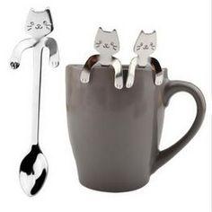 Nueva Cuchara de café y té de acero inoxidable Mini Cat Mango largo Cuchara creativa Herramientas para beber Utensilios de cocina Cubiertos Vajilla