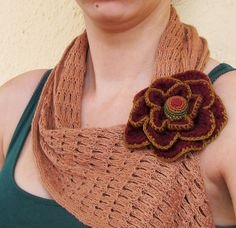 Burgundy brooch / textile flower brooch / hair by laviniasboutique