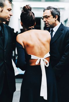 Giovanna Battaglia wears a backless Céline dress