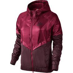 Nike W Windbreaker red/maroon ❤ liked on Polyvore featuring activewear, nike sportswear, nike activewear and nike