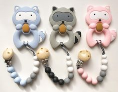 Raccoon Teether & Pacifier Clip / Silicone Teether Customize /