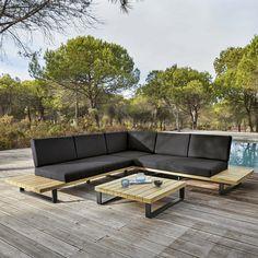 BAHAMAS Salon de jardin 4/5 places en aluminium et acacia massif