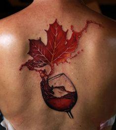 Wine and Maple Leaf Tattoo