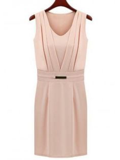 Work Style V Neck Sleeveless High Waist Dress Pink