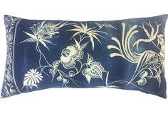 Floral Batik Pillow w/ Bird