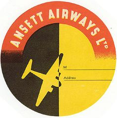 Luggage label for Nord Africa Aviazione S/A, 1932 Luggage Stickers, Luggage Labels, Vintage Luggage, Vintage Travel Posters, Posters Australia, Airline Logo, Vintage Hotels, Vintage Graphic Design, Vintage Advertisements