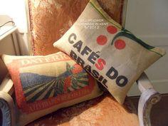 coffee sack cushions made 6/2012