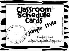 Jungle Theme Classroom Schedule Cards - PERFECT for any jungle themed classroom
