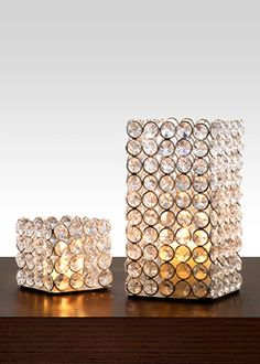 3in square crystal bead candle holder