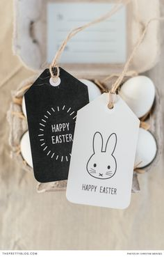 Free DIY easter printable tags - beautiful black and white easter tags with little bunny illustrations