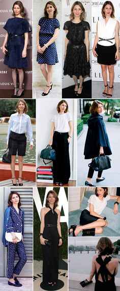Sofia Coppola. Waist definition works on her, as do simple, lighter-weight shoes.