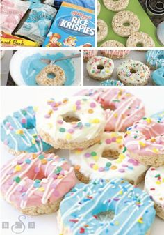 These Donut Rice Krispies Treats® are one adorable dessert recipe that would be perfect for a themed birthday party or a sleepover. Use Rice Krispies® cereal, marshmallows, and vanilla to create the b Donut Birthday Parties, Birthday Desserts, Donut Party, Snacks Für Party, Diy Birthday Treats, Kids Party Treats, Party Sweets, Birthday Parties For Girls, Diy Party Desserts
