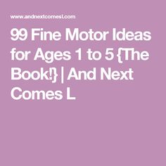 99 Fine Motor Ideas for Ages 1 to 5 {The Book!} | And Next Comes L