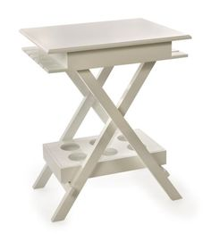 """Patton Wine Table - High gloss white finished wood of the Patton wine table brings a clean focal point to any area. See more from the Patton Line of furnishings. Material: 28% Fir Wood, 70% MDF, 2% Copper. 30.25""""h x 19""""w x 24""""."""
