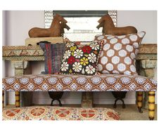 stickers and stuff: John Robshaw - textiles Decor, Interior Design, House Interior, Interior Inspiration, Cushion Cover Designs, Decor Interior Design, Upholstery, Upholstered Bench, Furniture Decor