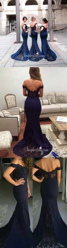 navy mermaid prom dress evening dress party dress bridesmaid dress ball gown, sexy off-the-shoulder prom dresss