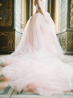 Blush pink wedding dress | Rodion Shapor Photography | see more on: http://burnettsboards.com/2015/12/fairytale-rose-quartz-wedding-inspiration/