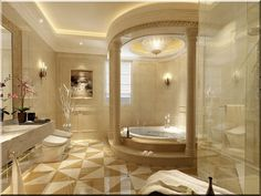 Luxury Interior Home Decorating Small Bathroom Design Ideas With Dazzling Beige Wall Color Theme And Modern White Round Sink Bathub Und Luxury Master Bathrooms, Bathroom Design Luxury, Dream Bathrooms, Luxury Interior Design, Amazing Bathrooms, Bathroom Designs, Bathroom Ideas, Fancy Bathrooms, Luxurious Bathrooms