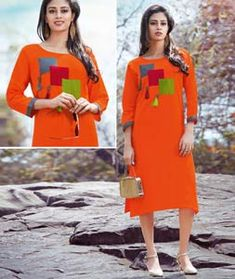 Orange Cotton Readymade Kurti 126648 Simple Kurti Designs, Kurti Neck Designs, Blouse Designs, Stylish Dresses For Girls, Frocks For Girls, Kurti Patterns, Dress Patterns, Simple Kurtis, Kurtha Designs