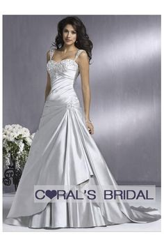 Beautiful sliver satin wedding dress with cap sleeves. Love this but in white! This is stunning