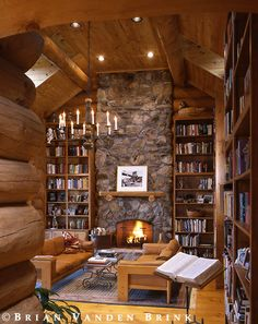 Rustic Fireplace & Bookcases