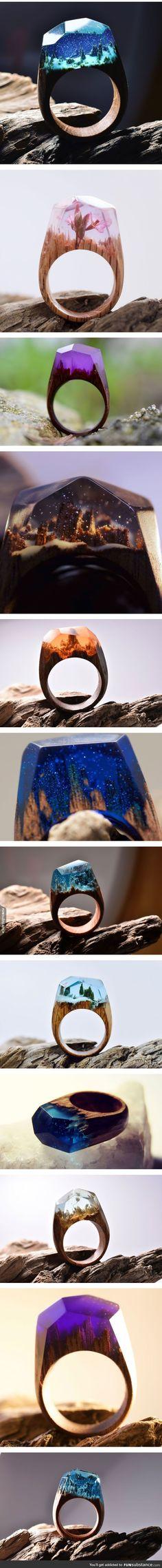 Miniature Worlds Created Inside These Wooden Rings: http://designwrld.com/wooden-rings-secret-wood/