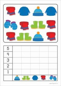 Winter Math Centers for Kindergarten 126 pages. A page from the unit: Count and Graph