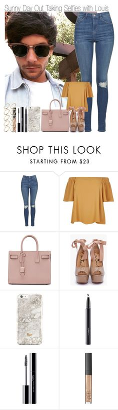 """""""Sunny Day Out Taking Selfies with Louis"""" by elise-22 ❤ liked on Polyvore featuring Topshop, River Island, Yves Saint Laurent, Lanvin, MAC Cosmetics, shu uemura, NARS Cosmetics, ASOS and plus size clothing"""