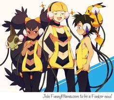 Ash, Iris and Cilan dresses as Elesa Elesa Pokemon, Touko Pokemon, Pokemon Comics, Iris Pokemon, Pokemon Fan Art, Cute Pokemon, Transgender Comic, Pokemon Photo, Anime Motivational Posters