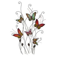 "32"" Metal Butterflies Wall Decoration  ~~  Add some style to your walls with this lovely accent.  Approximate Measurements: 32"" x 20"";  Composition: Iron.  Origin: China."
