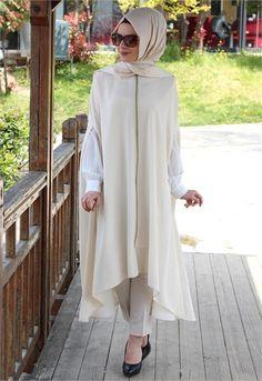 Beyhan Fermuarlı-Kolsuz Tunik-Krem-1561                                (1561) Islamic Fashion, Muslim Fashion, Modest Fashion, Unique Fashion, Fashion Outfits, Hijab Style Dress, Hijab Chic, Hijab Outfit, Modele Hijab