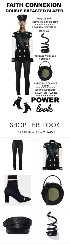 """Power Look - Faith Connexion Embellished Double Breasted Blazer"" by latoyacl ❤ liked on Polyvore featuring Yves Saint Laurent, Faith Connexion, Versus, Dsquared2 and Proenza Schouler"