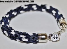 Hand woven Kumihimo style bracelets with dog charms.